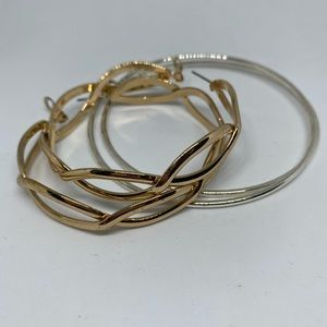 Large hoop earrings 2 pairs silver & gold tone fun
